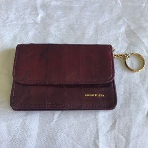 vintage oxblood eelskin leather mini walllet
